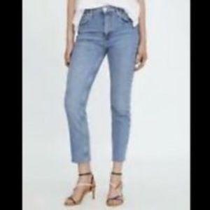 Zara Raw Hem Slim Fit High Rise Jeans Sz 8